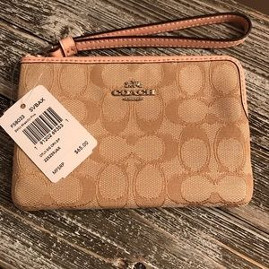 Coach wristlet, light khaki/pink, NWT